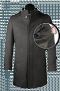 Manteau gris avec col droit en laine-front_open