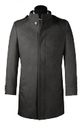Grey stand up collar Wool Coat-View Front