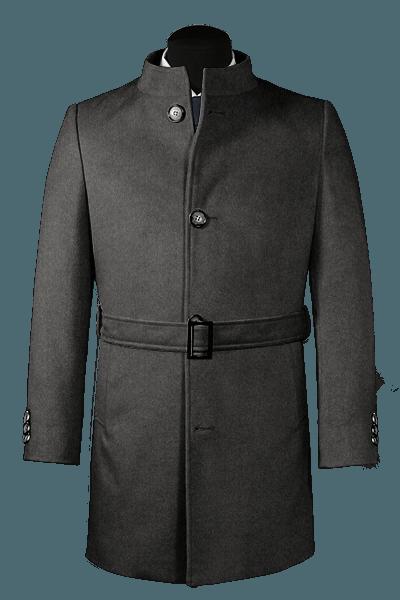 Grauer Stehkragen Mantel aus Wolle
