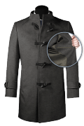 Grey stand up collar Wool Coat-front_open