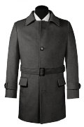 Grey belted Wool Coat-View Front