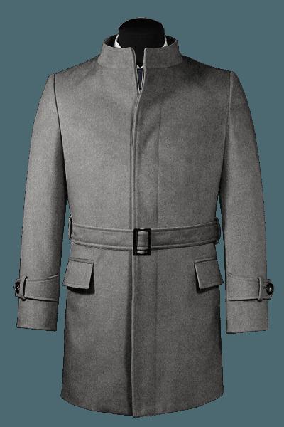 Grey belted Wool Coat