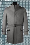 Abrigo gris con cinturón de lana-Vista Frontal