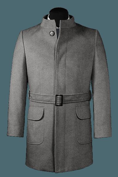 Manteau gris avec ceinture en laine