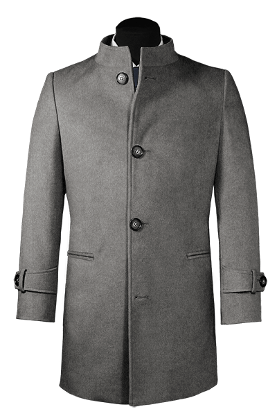 Grey stand up collar Wool Coat
