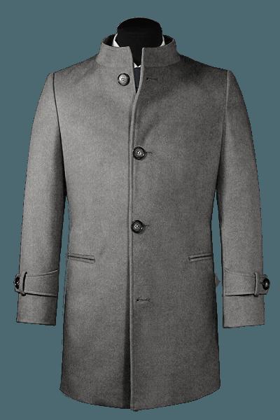 Manteau gris avec col droit en laine