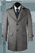 Cappotto grigio di lana-Vista Frontale