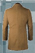 Beige Stehkragen Mantel aus Wolle-Ansicht Rückseite
