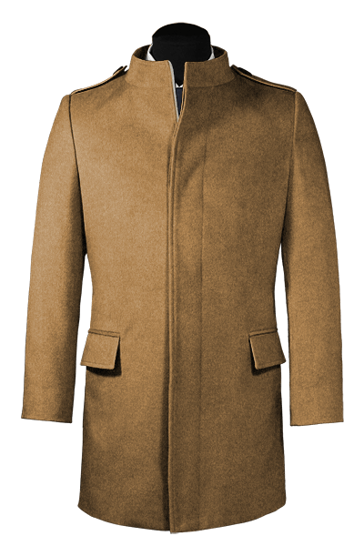 Beige stand up collar Wool Coat