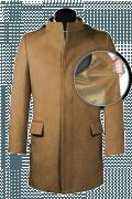 Beige Stehkragen Mantel aus Wolle-front_open