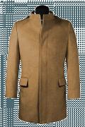 Beige Stehkragen Mantel aus Wolle-Ansicht Vorderseite