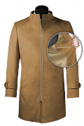 Beige stand up collar Wool Coat-front_open