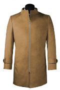 Beige stand up collar Wool Coat-View Front