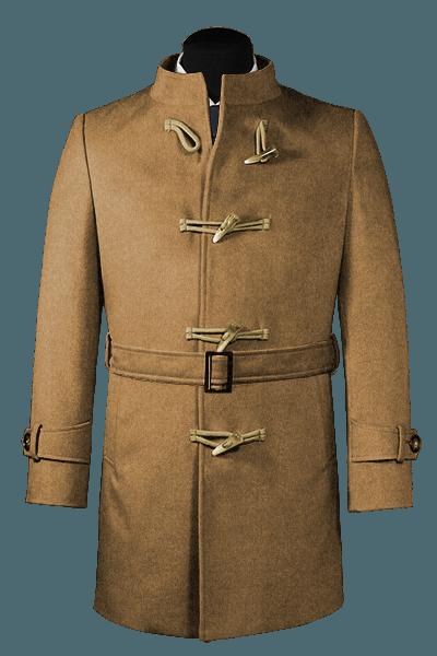 Cappotto con cintura beige di lana