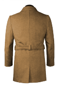 Beige belted Wool Coat-View Back