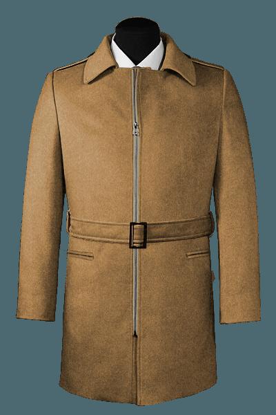 Beige belted Wool Coat