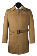 Beige belted Wool Coat-View Front