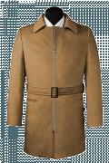 Cappotto con cintura beige di lana-Vista Frontale