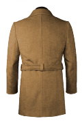 Beige belted Wool Duffle coat-View Back