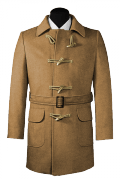 Beige belted Wool Duffle coat-View Front
