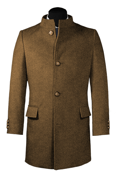 Cappotto a collo alto marrone