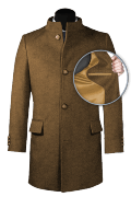 Brown stand up collar Coat-front_open