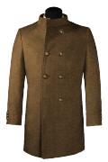 двубортное пальто с воротником-стойкой-Вид спереди