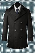 Black Pea coat-View Front