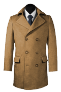 Beige double breasted Wool Coat-View Front
