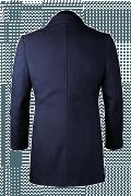 Cappotto doppiopetto blu di lana-Vista Posteriore