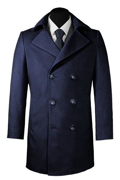 Blue double breasted Wool Coat