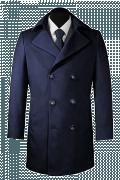 Cappotto doppiopetto blu di lana-Vista Frontale