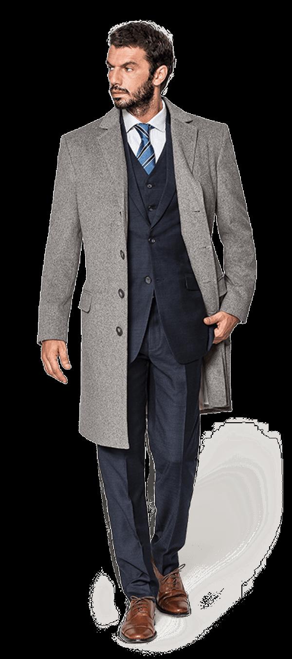 Grauer Mantel aus Wolle