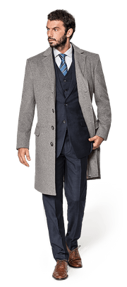 Grauer Mantel aus Wolle-4