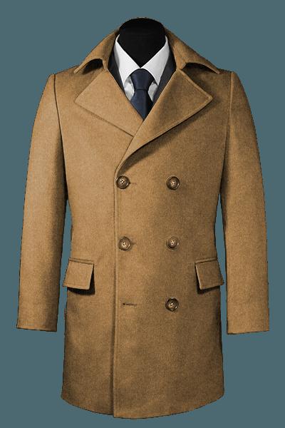 Beige Zweireihiger Mantel aus Wolle