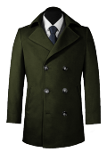 Green Pea coat-View Front
