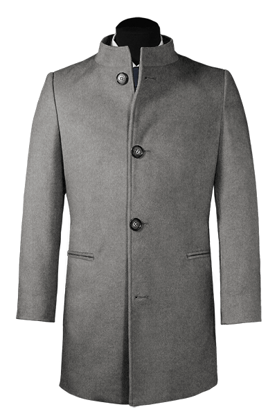 Grey stand up collar Coat