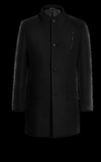 Schwarzer Mantel mit Stehkragen mit Breite Revers cc4b06ccb0