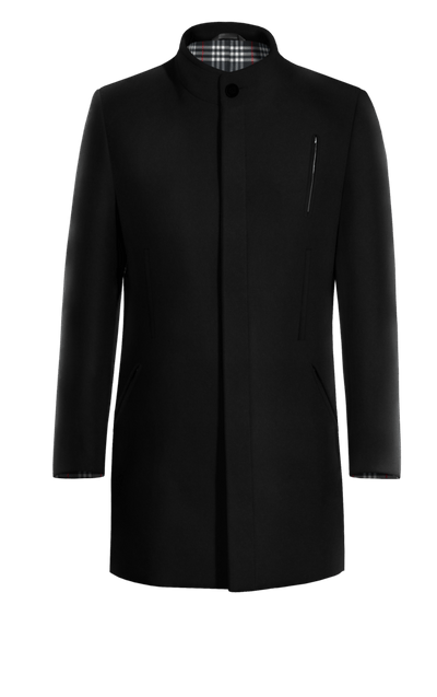 Schwarzer Mantel mit Stehkragen mit kontrastfarbigen Knopffäden 0b5154b5c8