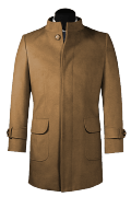 Brown stand up collar Coat-View Front