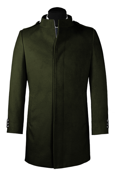 Green stand up collar Coat