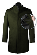 Green stand up collar Coat-front_open