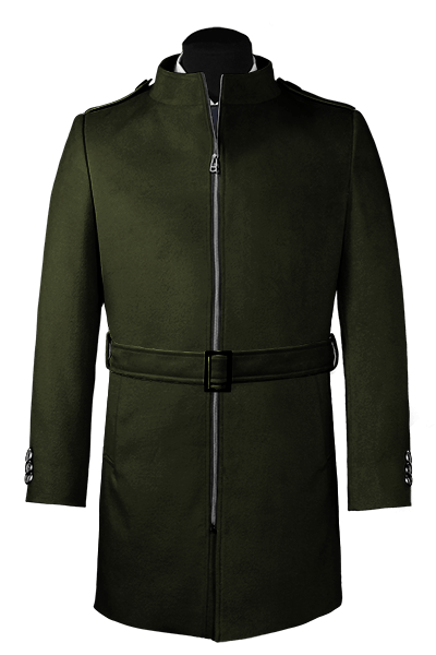Green belted Coat
