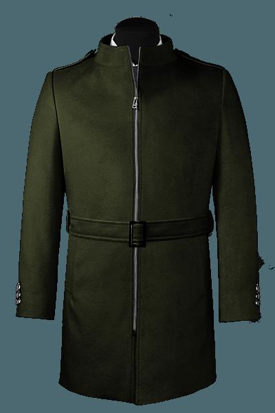 Manteau vert avec ceinture