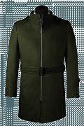 Abrigo verde con cinturón-Vista Frontal