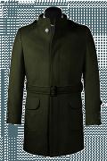 Cappotto con cintura verde-Vista Frontale