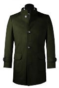 Green stand up collar Coat-View Front
