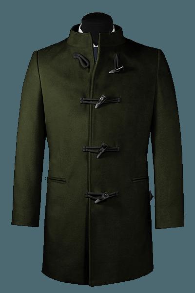 Manteau vert avec col droit