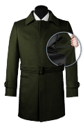 Green belted Coat-front_open