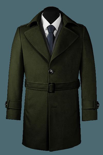 Grüner Mantel mit Gürtel